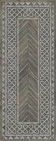 Spicher & Co. vinyl floorcloth floor mat wood inlays herringbone gray vintage border runner chair mat