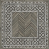Spicher & Co. vinyl floorcloth floor mat wood inlays herringbone gray vintage border square chair mat