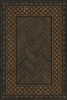 Spicher & Co. vinyl floorcloth floor mat wood grain inlays herringbone  vintage border chair mat