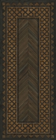 Spicher & Co. vinyl floorcloth floor mat wood grain inlays herringbone  vintage border runner