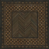 Spicher & Co. vinyl floorcloth floor chair mat wood grain inlays herringbone  vintage border square