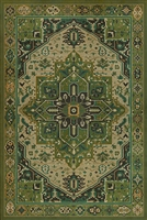vinyl floor mat rug Persian-style green black tan