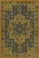 vinyl floor mat rug Persian-style gold black