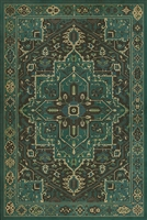 vinyl floor mat rug Persian-style teal green black