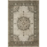 vinyl floorcloth tan neutral medallion