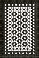 vinyl floor mat black white flower tile