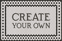 rectangle mosaic black and white tile floor mat welcome  custom personalize