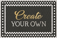 rectangle mosaic black and white tile floor mat welcome  custom personalize gold script