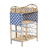woven navy white star pattern rattan wine bar removable tray