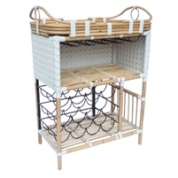woven white star pattern rattan wine bar removable tray