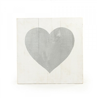 Zentique panel wall art oversized large big white gold heart wood silver metal