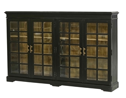 glass + wood open shelf library case cabinet ebony