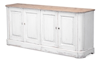 buffet sideboard cabinet 4-door whitewash dark stain top old pine distressed key holes