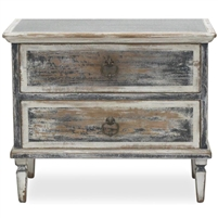 2-drawer commode zinc top ink black white distressed finish