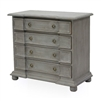 4-drawer chest wood grey bun feet silver hardware