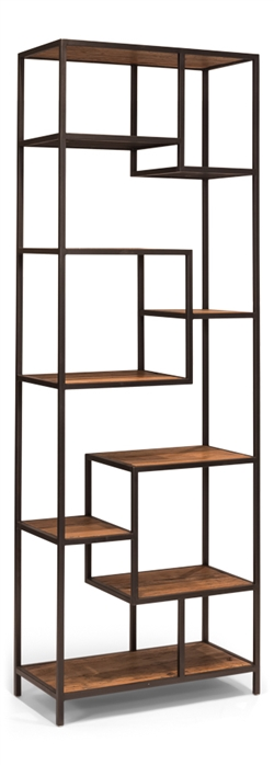 iron + wood open shelf bookcase asymmetrical