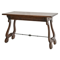 walnut wood desk gunmetal iron stretcher lyre-shaped legs