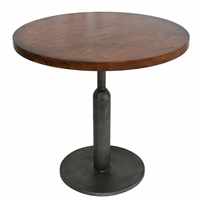 cafe table walnut wood round top gunmetal gray iron pedestal