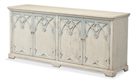 cabinet buffet sideboard ivory architectural onlays light blue two removable shelves