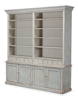 antique white book cabinet with shelves drawers