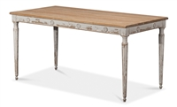 dining table rectangle natural top white distressed bottom slender legs medallions