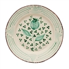 dinner plate set ceramic green off white brown trim pomegranate