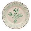 dinner plate set ceramic green off white floral brown trim