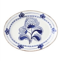 platter ceramic blue off white floral serveware