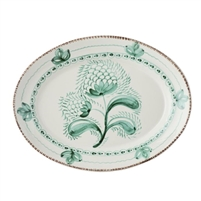 platter ceramic green off white floral serveware