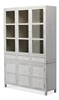bookcase cabinet wood distressed antique white glass doors drawers lower doors