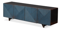 cabinet 4 doors geometric carved dark blue dark stained distressed 4 feet interior shelves