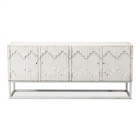 white wash aztec sideboard on stand