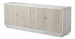 cabinet 4-doors white washed natural pine wood long transitional storage interior shelf