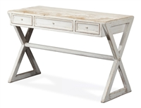 desk reclaimed wood rustic white wash x-frame 3-drawers