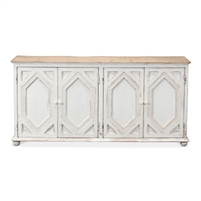 four diamond sideboard white natural