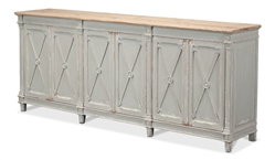 cabinet buffet long six doors removable shelves natural wood top pine x's arrows applied wood eight feet