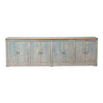 antique blue sideboard natural top