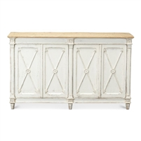 antique white distressed 4-door cabinet arrow overlays natural pine top