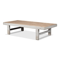 extra long rectangle coffee table wood pine distressed antique white natural top