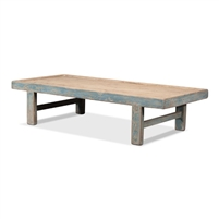 wood coffee table antique blue wash