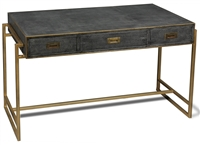 desk black grey shagreen leather three drawers antiqued brass iron frame hardware