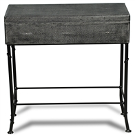 grey leather shagreen box black iron stand marbleized paper interior