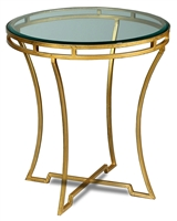 round table glass top antiqued gold iron base