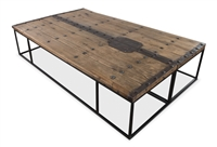 coffee table wood reclaimed recycled old doors rustic hardware extra large iron frame Sarreid Ltd.
