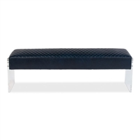 navy Chateau blue quilted leather bench clear acrylic sides