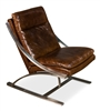 brown cigar leather padded chair silver brushed stainless frame contemporary