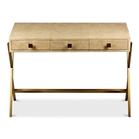 desk leather off-white tan mottled iron brass finished base contemporary