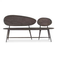 dark grey contemporary wood bench splayed legs two oval backs