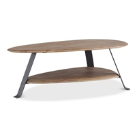 oval coffee table natural acacia wood lower shelf gunmetal steel legs