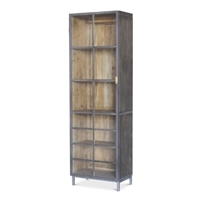 gray wood gunmetal finish metal glass doors brass handle display cabinet